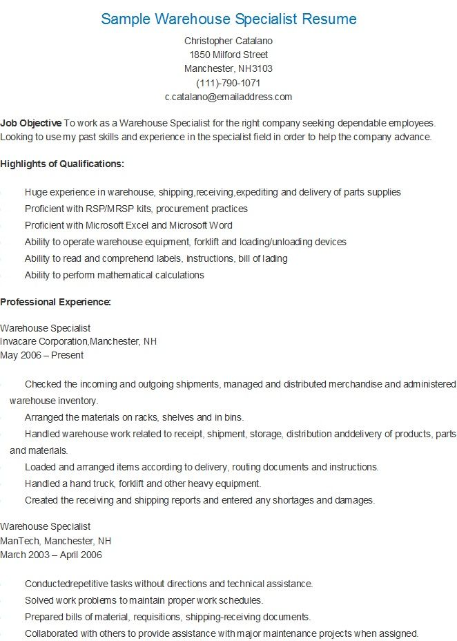 sample warehouse specialist resume job samples examples material expeditor retail Resume Material Expeditor Resume
