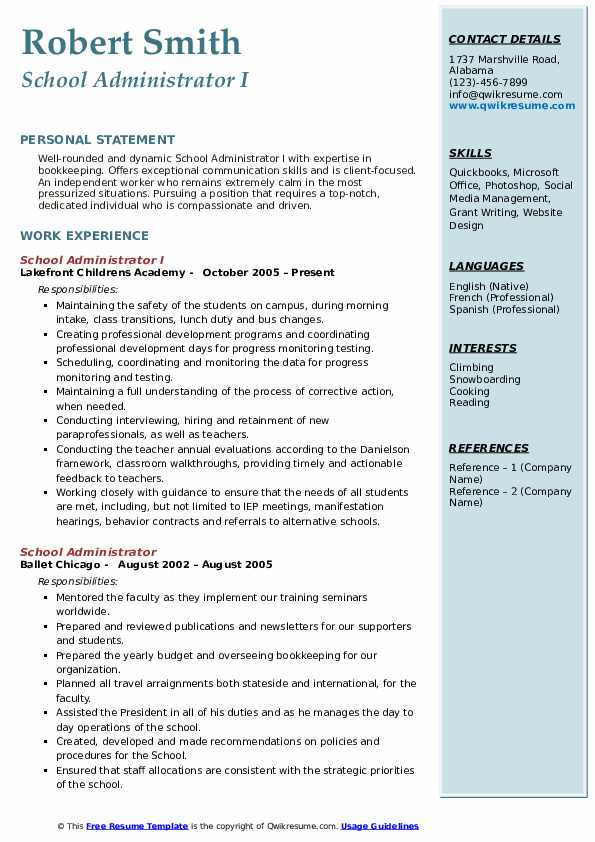 school administrator resume samples qwikresume templates for educational administration Resume Resume Templates For Educational Administration