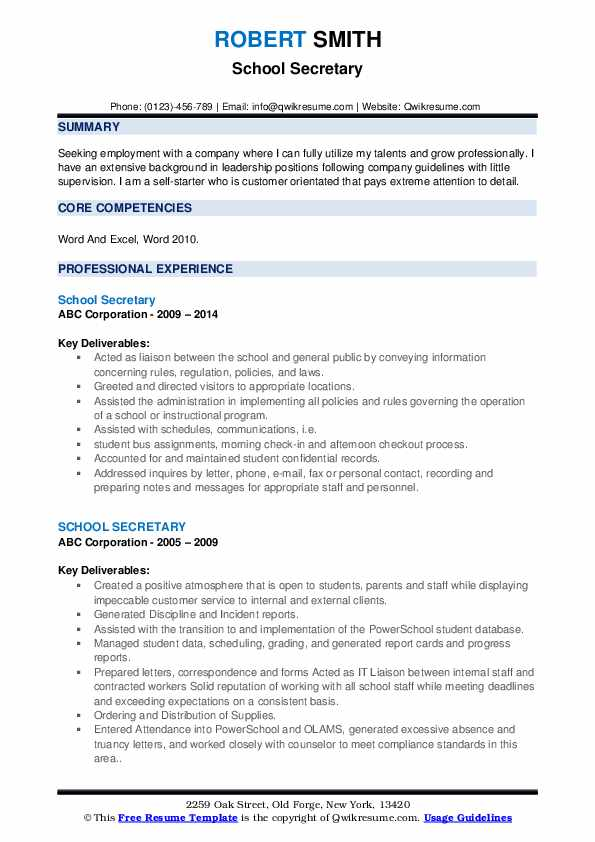 school secretary resume samples qwikresume sample for position pdf cleaning services call Resume School Secretary Resume