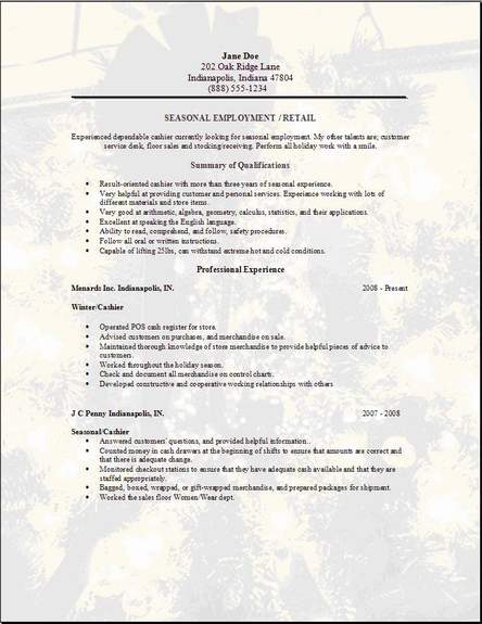 seasonal employment resume occupational examples samples free edit with word template for Resume Free Resume Template For Long Term Employment