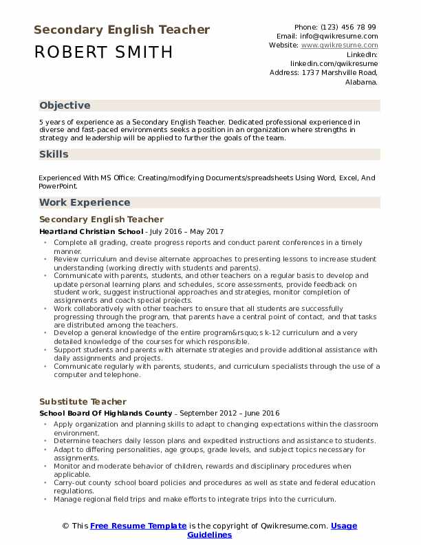 secondary english teacher resume samples qwikresume format pdf maintenance coordinator Resume Teacher Job Description For Resume