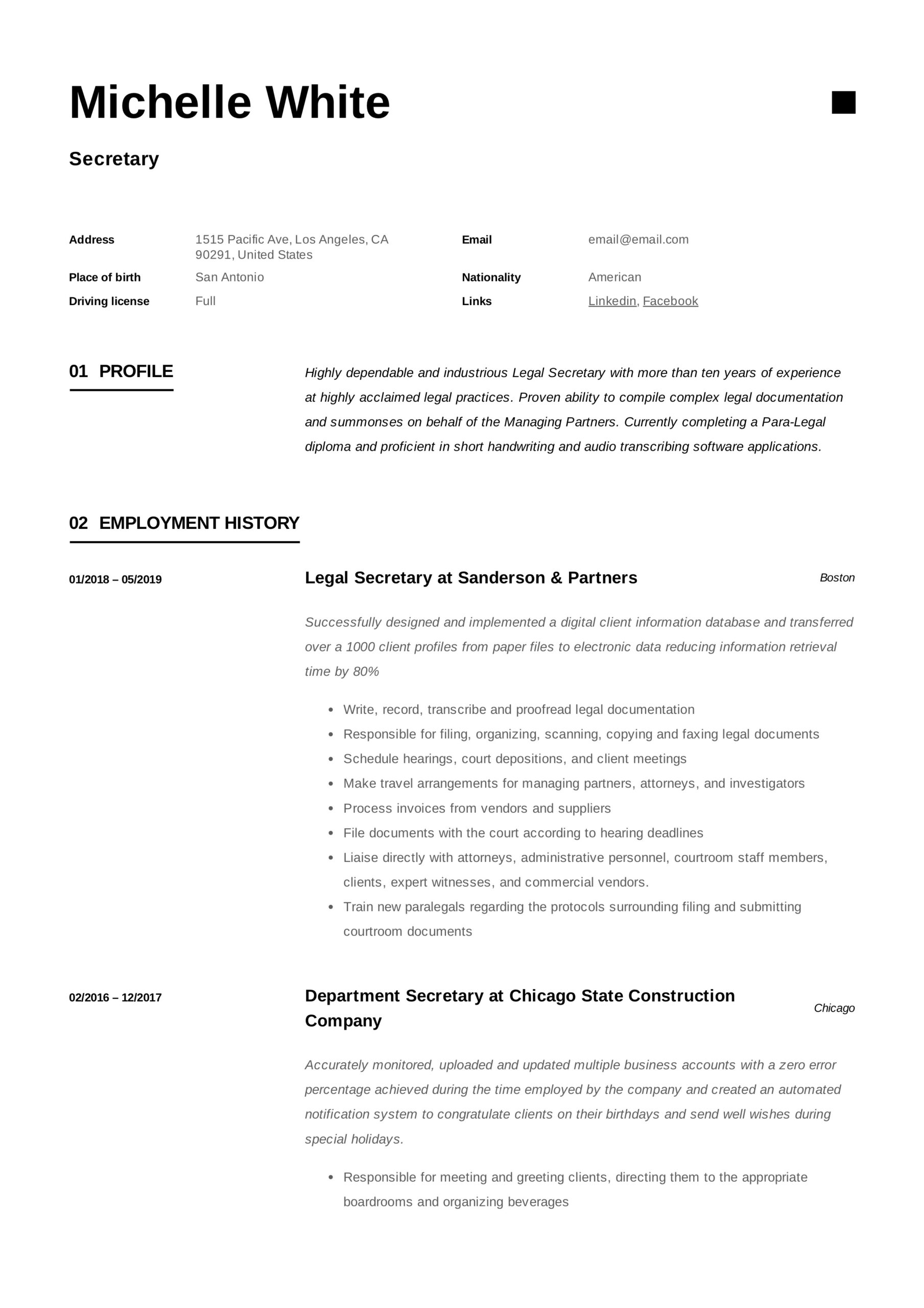 secretary resume writing guide template samples pdf company profile orthopedic executive Resume Company Secretary Profile Resume