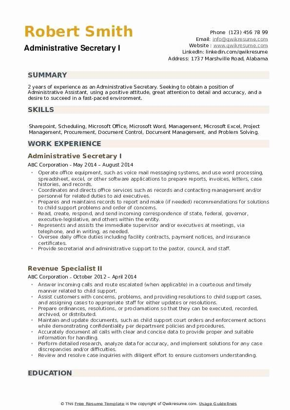 secretary skills for resume new administrative samples examples objective position sample Resume Objective For Secretary Position Resume