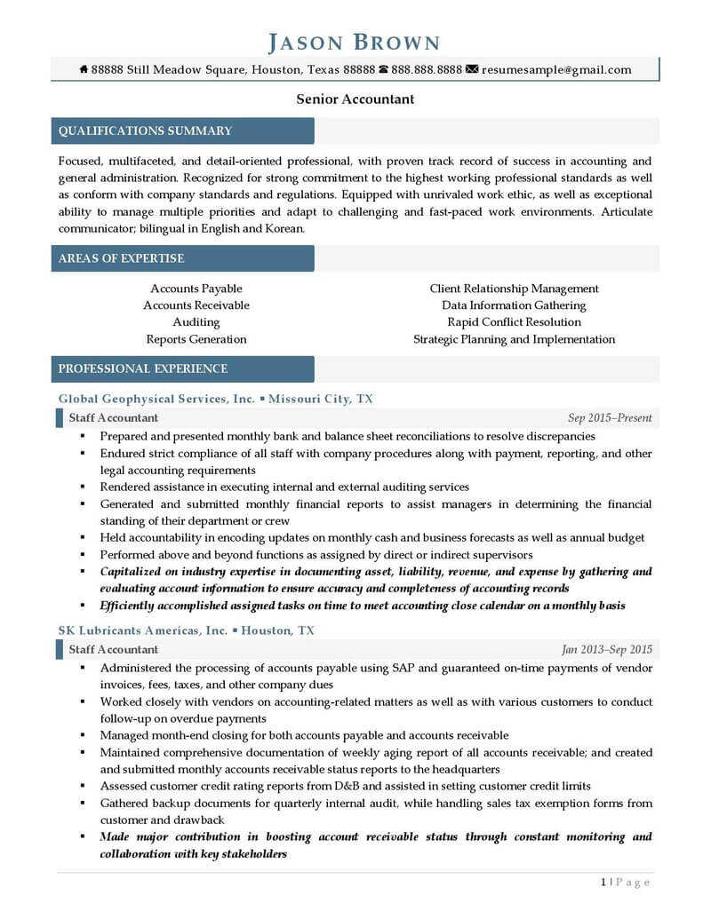 senior accountant resume examples professional writers sample for warehouse forklift Resume Senior Accountant Resume