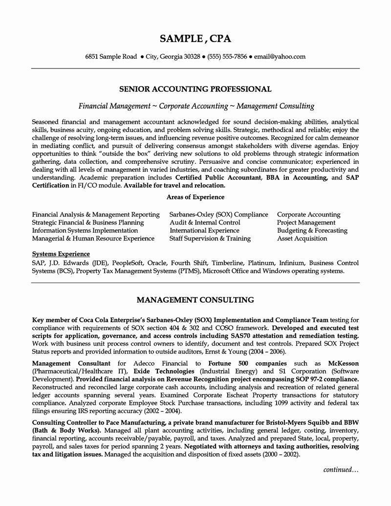 senior accountant resume sample luxury accounting professional example cover letter for Resume Senior Accountant Resume