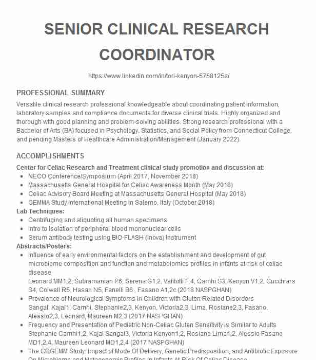 senior clinical research coordinator resume example university of chicago oak for student Resume Senior Clinical Research Coordinator Resume