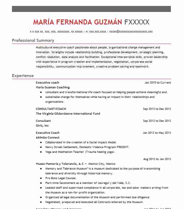 senior consultant executive coach resume example development dimensions international ddi Resume Professional Coaching Resume