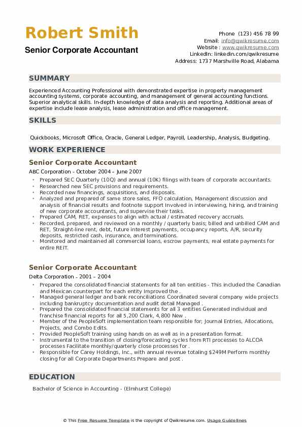 senior corporate accountant resume samples qwikresume areas of expertise for pdf Resume Areas Of Expertise For Accountant Resume