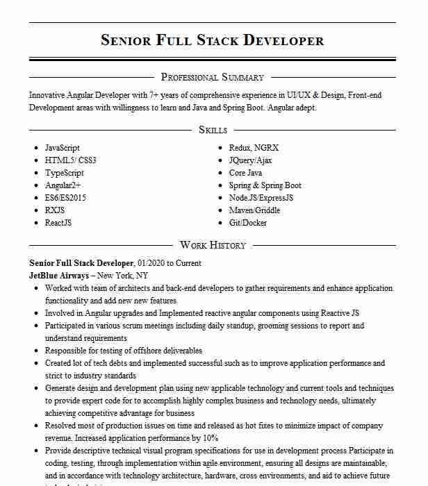 senior developer full stack resume example tata consultancy services client the home Resume Full Stack Developer Resume Examples