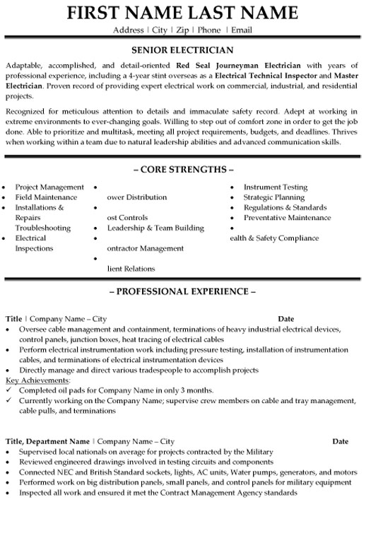 senior electrician resume sample template construction templates objective for leadership Resume Electrician Resume Template