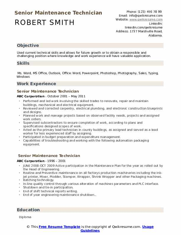 senior maintenance technician resume samples qwikresume pdf spanish instructor template Resume Senior Technician Resume