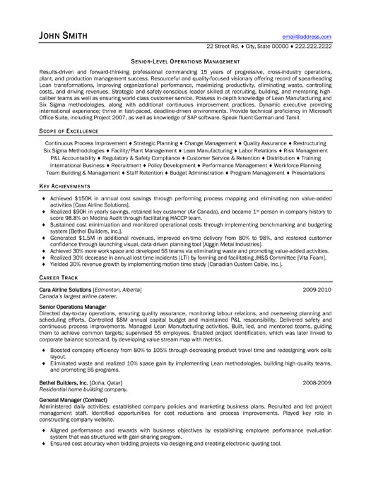 senior operations manager resume sample template con executive medical cover letter Resume Senior Operations Manager Resume Template