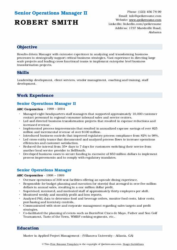 senior operations manager resume samples qwikresume template pdf agile project critique Resume Senior Operations Manager Resume Template