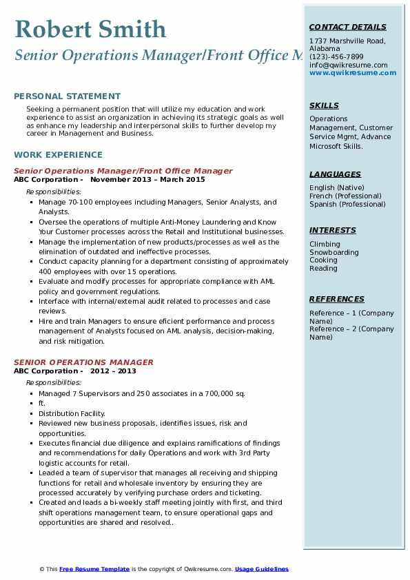 senior operations manager resume samples qwikresume template pdf years of experience on Resume Senior Operations Manager Resume Template