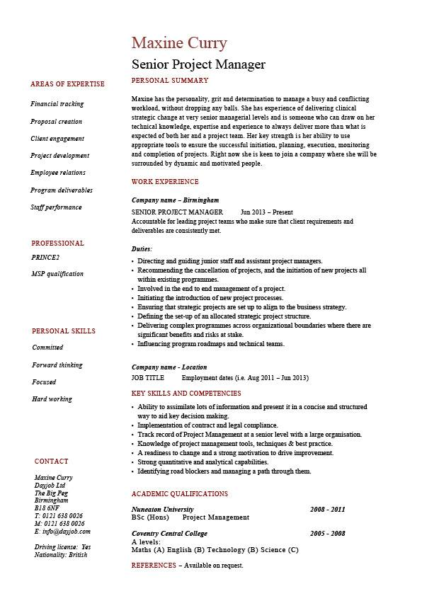 senior project manager resume sample example references job description management Resume Project Manager Job Description Resume