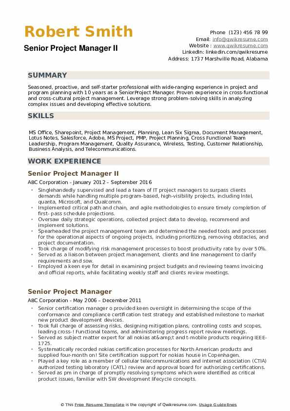 senior project manager resume samples qwikresume summary examples pdf and cover letter Resume Resume Summary Examples Project Manager