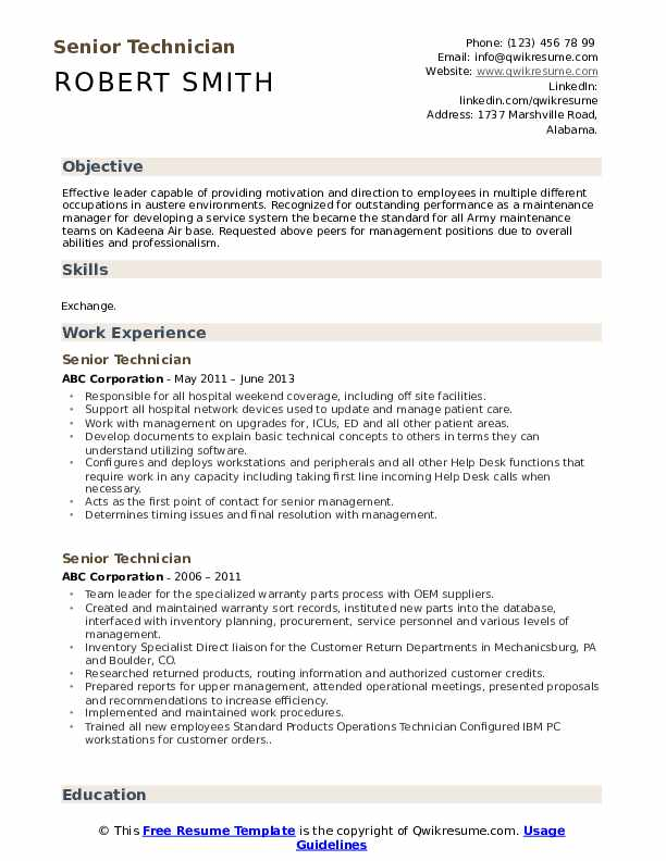senior technician resume samples qwikresume pdf ceo description for teacher on qr code Resume Senior Technician Resume