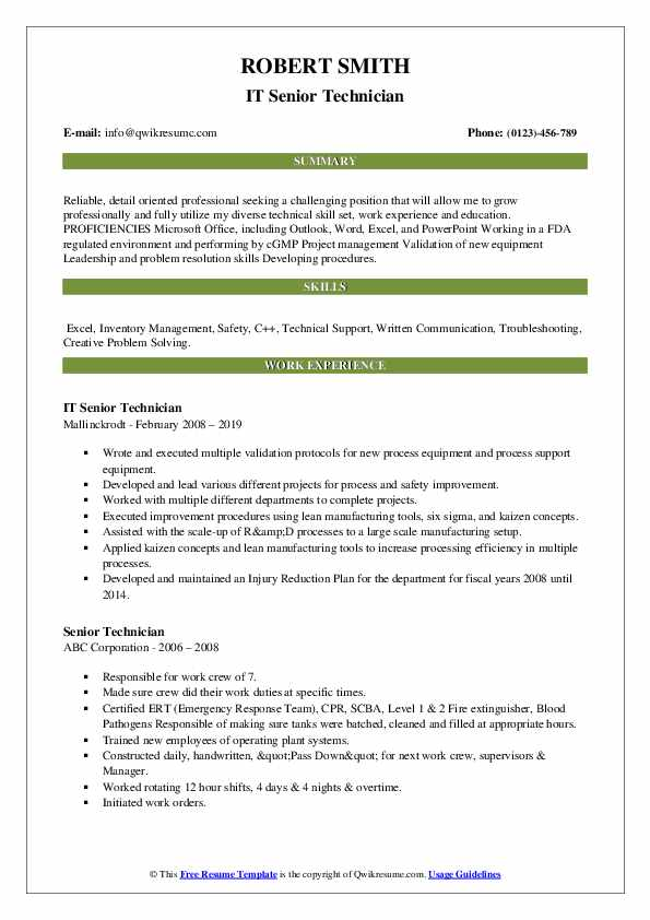 senior technician resume samples qwikresume pdf operations manager examples impressive Resume Senior Technician Resume