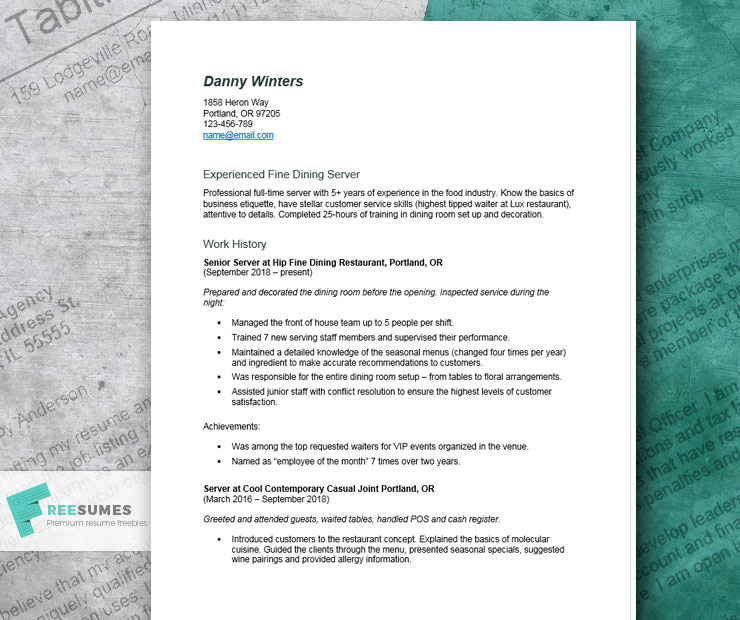 server resume example tips and tricks for writing the best freesumes fine dining servers Resume Fine Dining Server Resume