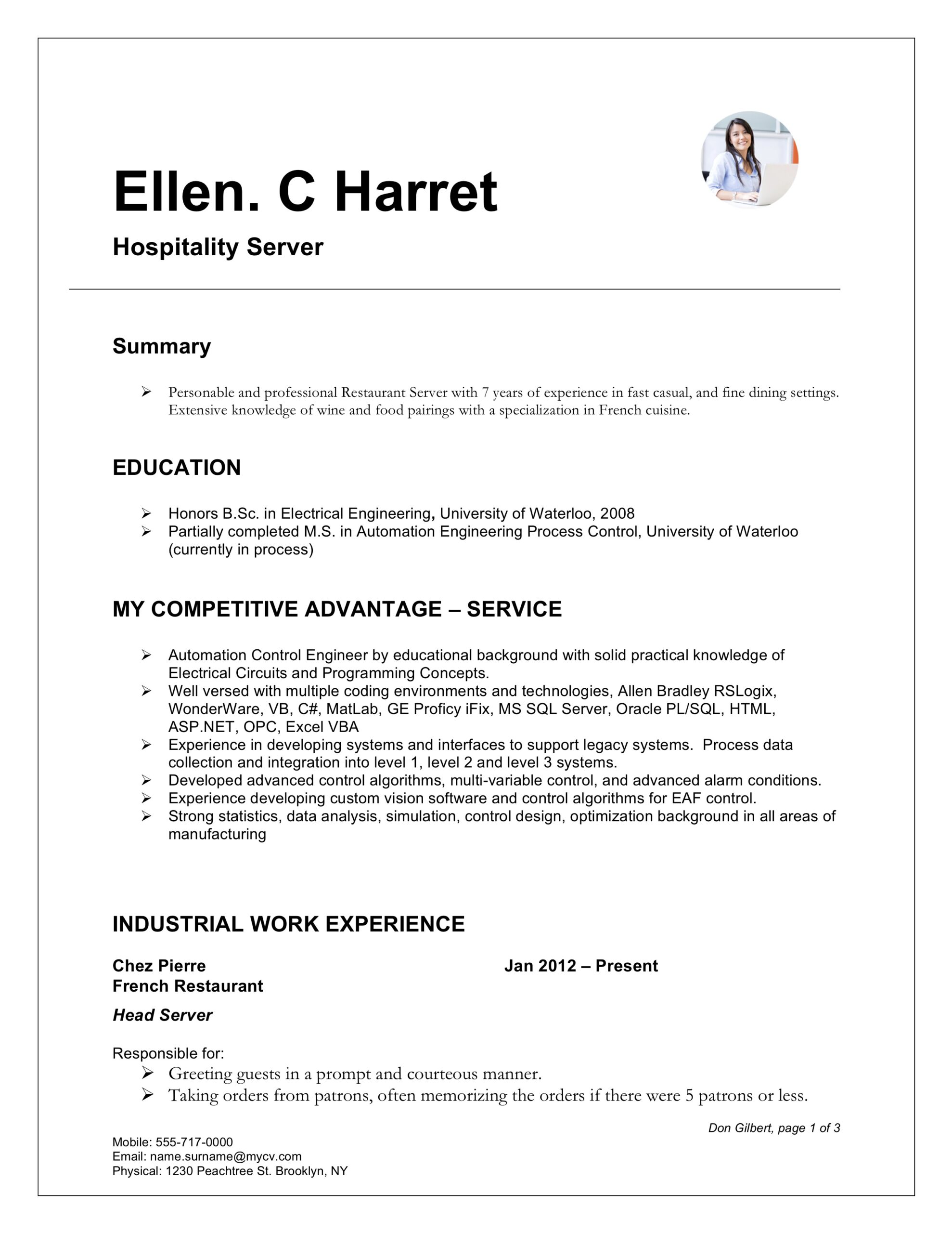 server resume writing guide examples free downloads fine dining word template cma Resume Fine Dining Server Resume