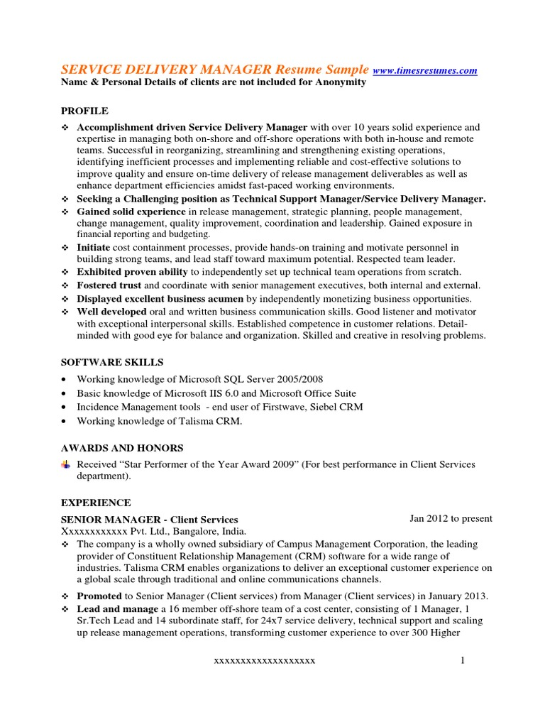 service delivery manager resume sample customer relationship management technical support Resume Software Delivery Manager Resume Sample