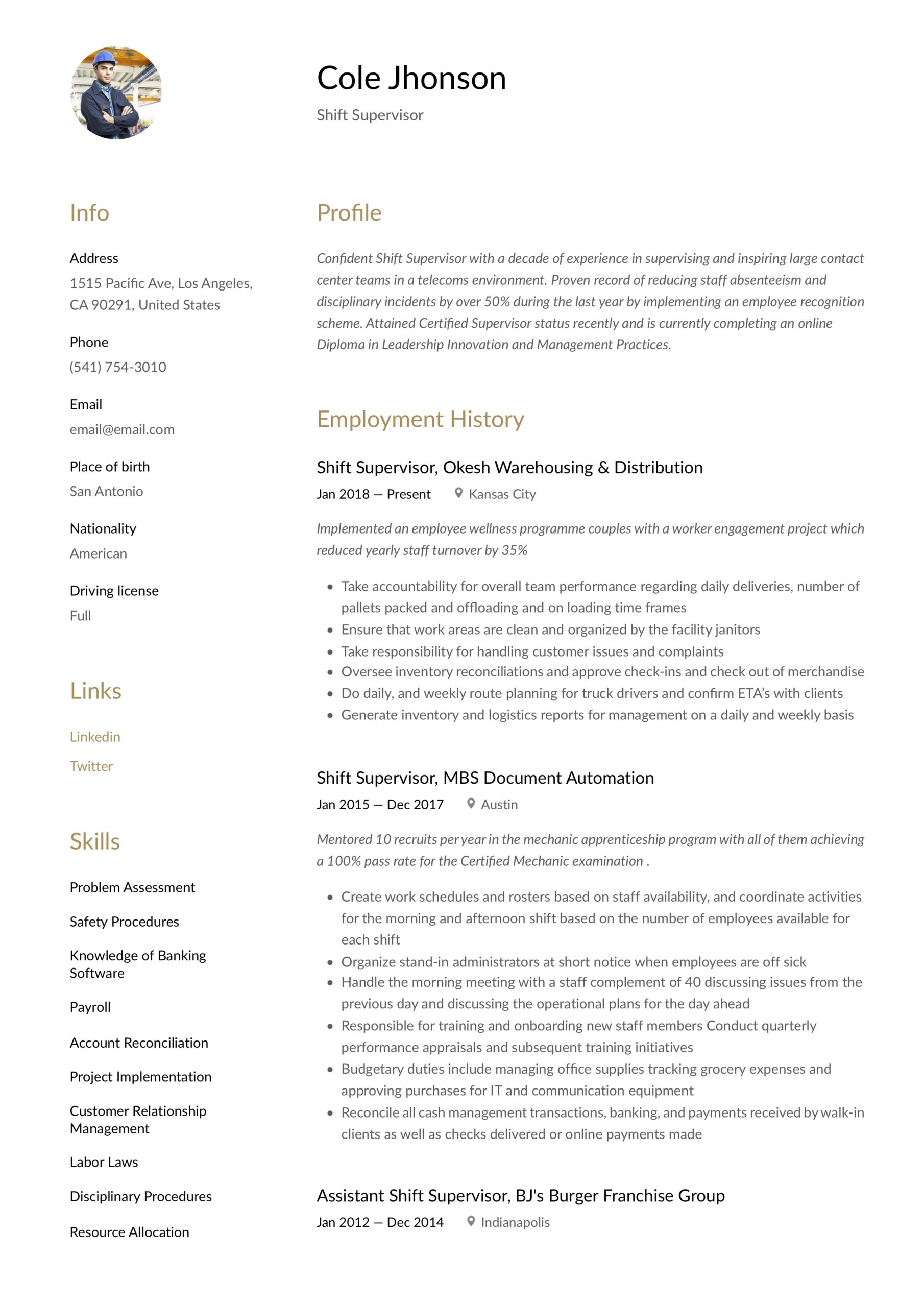shift supervisor resume writing guide templates manager description for technical strong Resume Shift Supervisor Resume