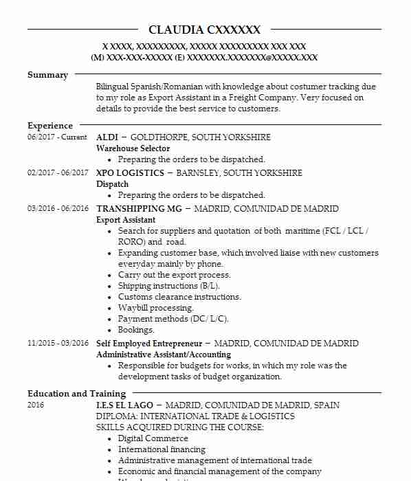 shipping and freight cv examples transportation distribution cvs livecareer resume for Resume Resume For Freight Forwarding Company