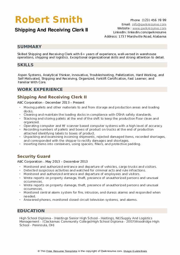 shipping and receiving clerk resume samples qwikresume duties for pdf format company Resume Receiving Clerk Duties For A Resume