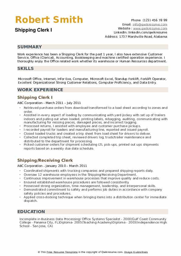 shipping clerk resume samples qwikresume warehouse examples pdf data structures and Resume Warehouse Clerk Resume Examples