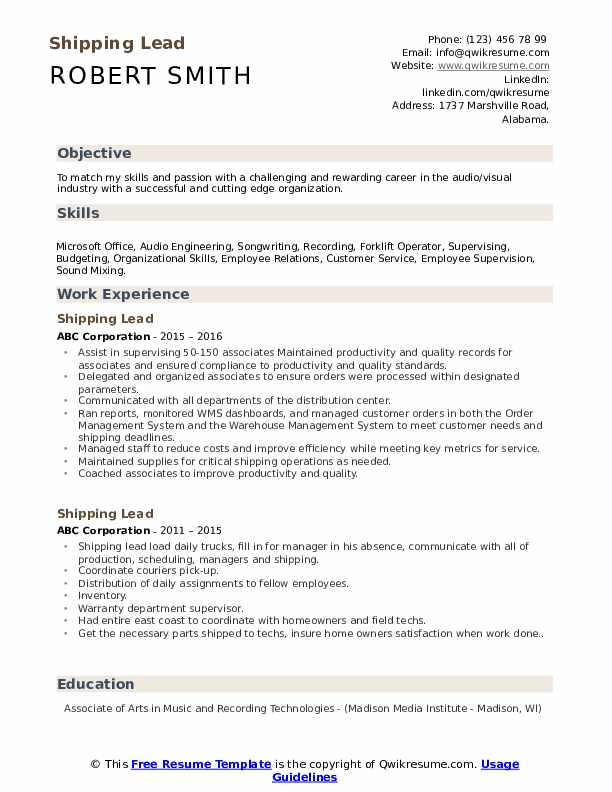 shipping lead resume samples qwikresume free and job description match pdf controller Resume Shipping Job Description For Resume