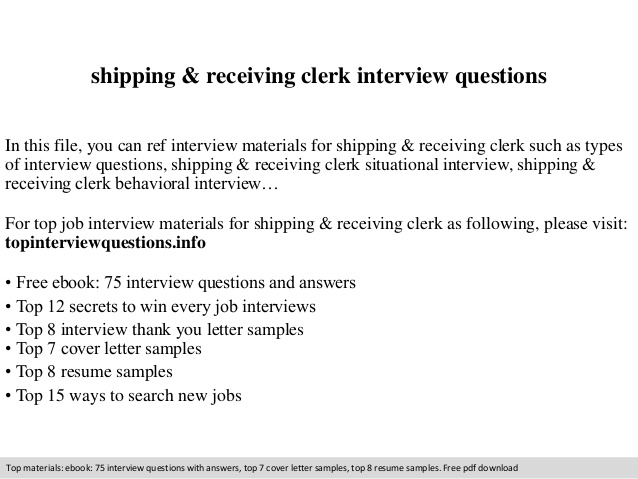 shipping receiving clerk interview questions duties for resume accountant summary mba Resume Receiving Clerk Duties For A Resume