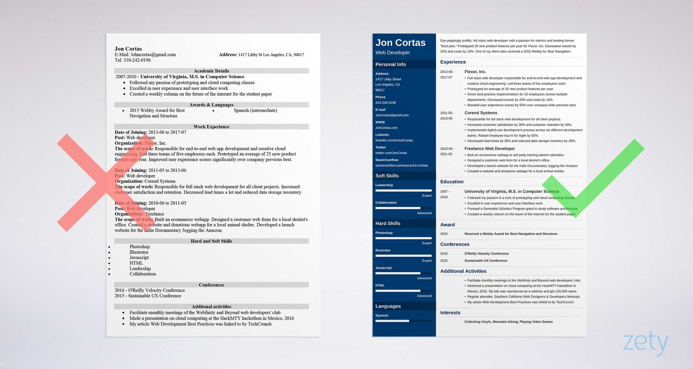 should resume one and to make it fit more than ideal length for web developer Resume Resume More Than One Page