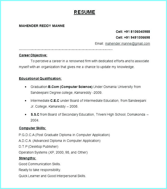 simple resume format in ms word for fresher free freshers good names retired military Resume Free Download Simple Resume Format For Freshers