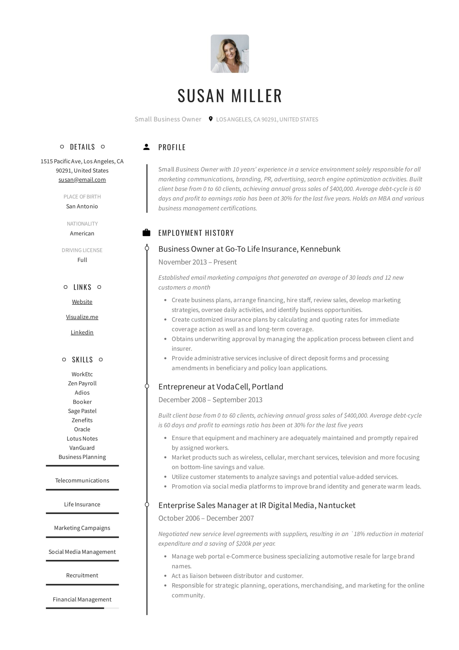 small business owner resume guide examples pdf self starter example modern clean Resume Self Starter Resume Example