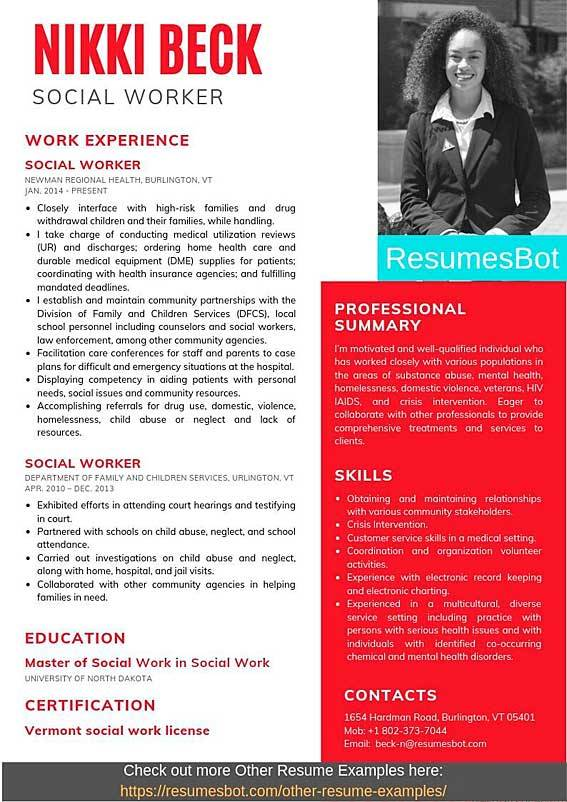 social worker resume samples and tips pdf examples resumes bot summary example military Resume Social Worker Resume Summary