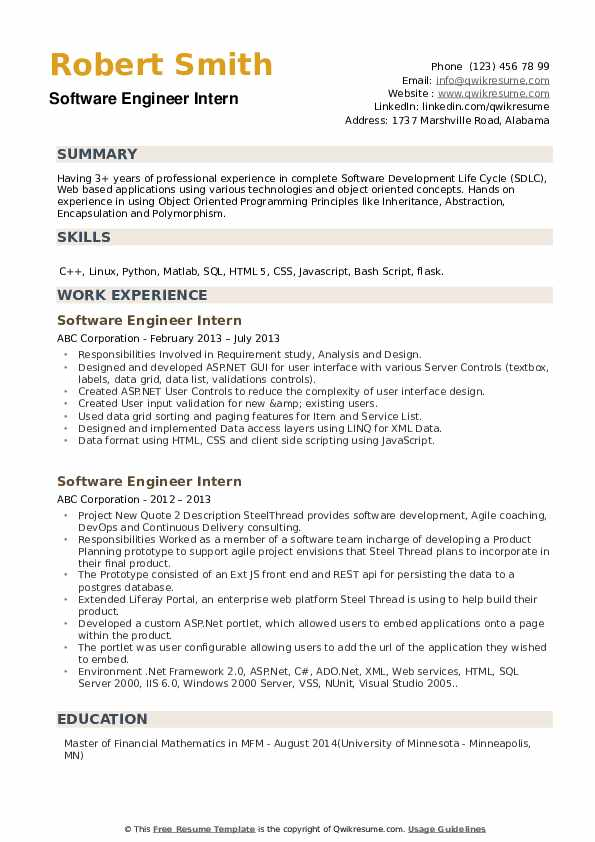 software engineer intern resume samples qwikresume work experience pdf beginner simple Resume Software Engineer Work Experience Resume