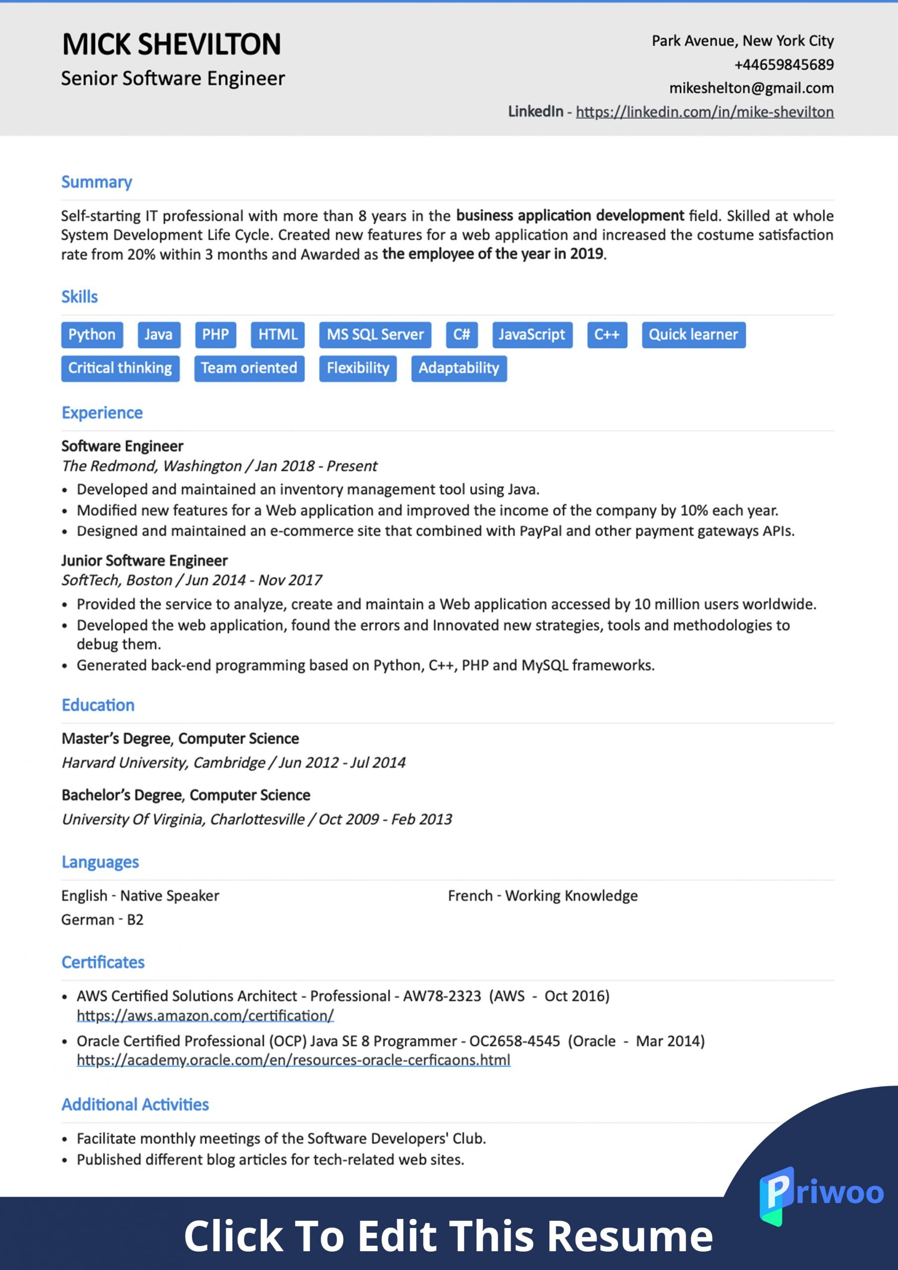 software engineer resume example best action verbs skills priwoo create for scaled Resume Create Resume For Software Engineer