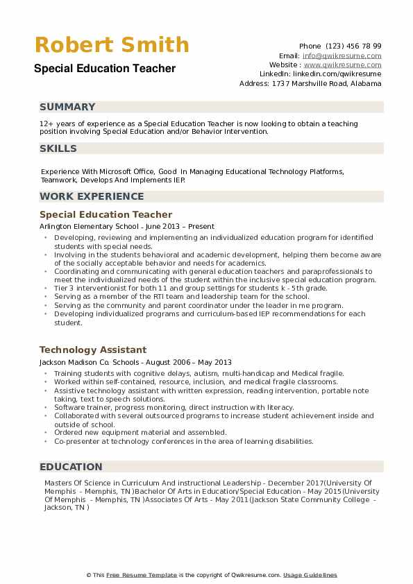 special education teacher resume samples qwikresume sample pdf for msc computer science Resume Sample Special Education Teacher Resume