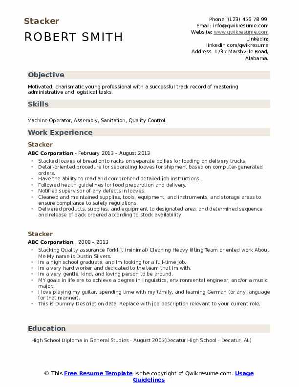 stacker resume samples qwikresume professional pdf tom herman writing software office Resume Young Professional Resume