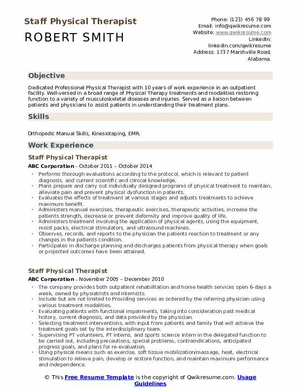 staff physical therapist resume samples qwikresume therapy templates free pdf consulting Resume Physical Therapy Resume Templates Free