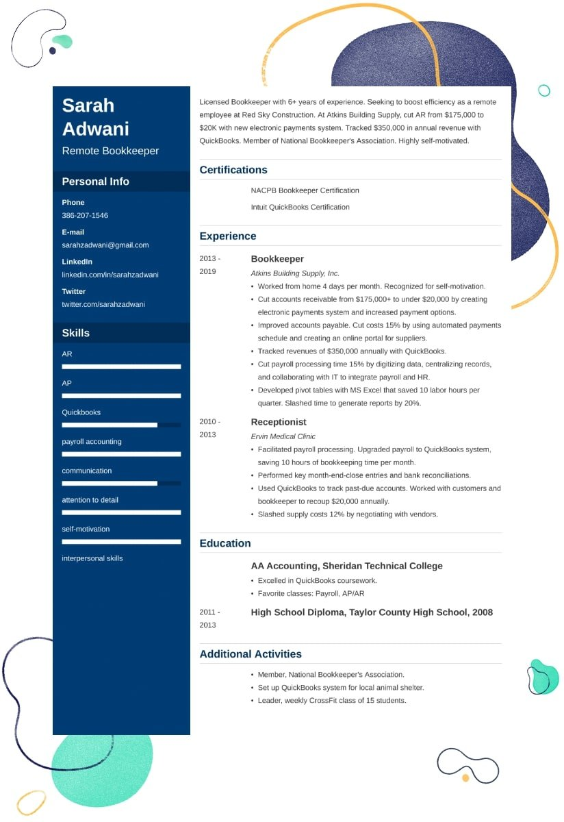 stay at home mom resume examples and writing tips remote work template controls engineer Resume Remote Work Resume Template