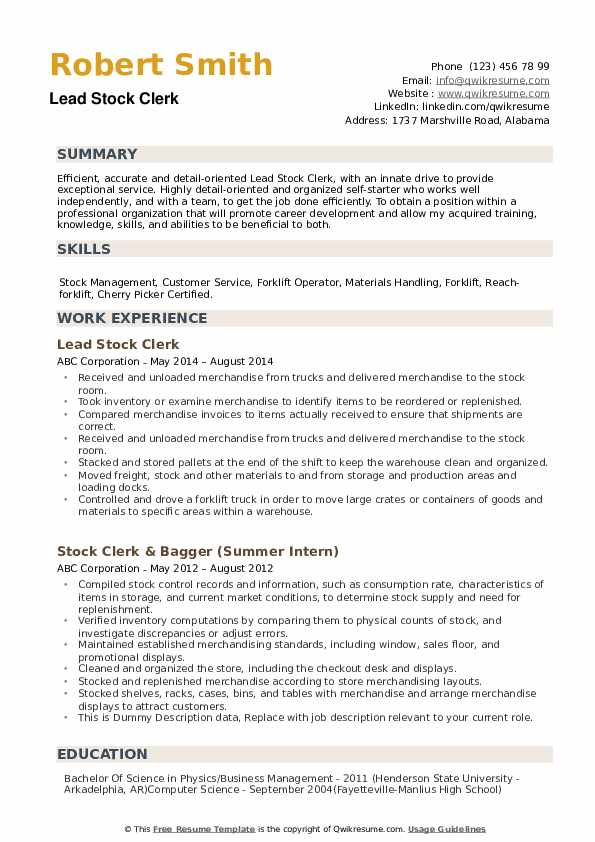 stock clerk resume samples qwikresume warehouse examples pdf upload template network Resume Warehouse Clerk Resume Examples
