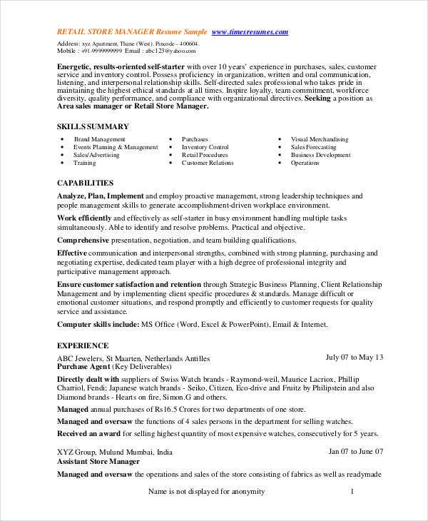 store manager resume free pdf word documents premium templates retail management Resume Retail Management Experience Resume