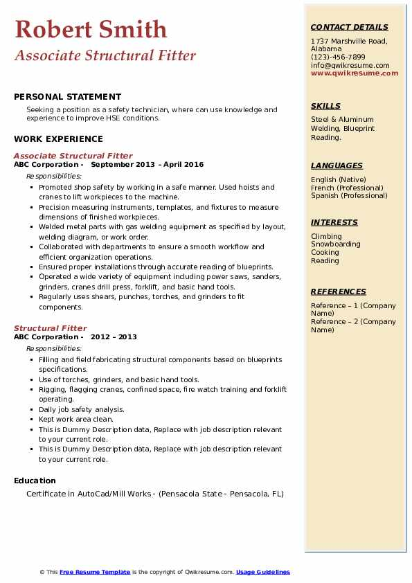 structural fitter resume samples qwikresume fabrication pdf free modern templates for Resume Fabrication Fitter Resume