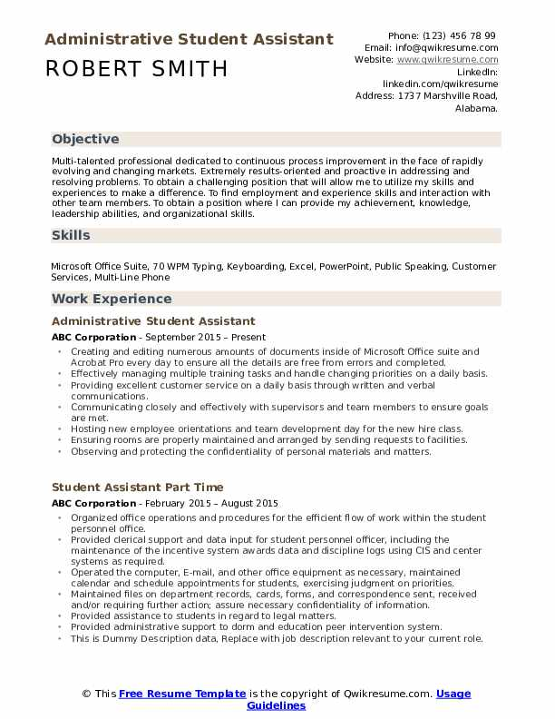 student assistant resume samples qwikresume general objectives for students pdf azure Resume General Resume Objectives For Students