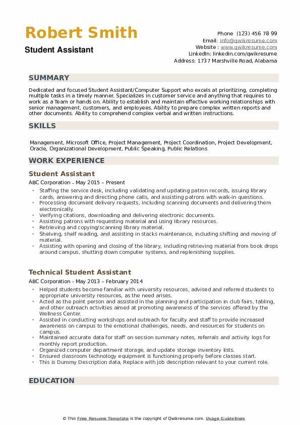 student assistant resume samples qwikresume skills and abilities examples pdf create Resume Student Resume Skills And Abilities Examples