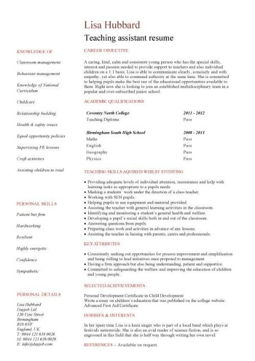 student cv template samples jobs graduate qualifications career advice resume summary Resume Teacher Assistant Job Description For Resume