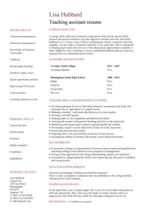student entry level teaching assistant resume template sample for teachers without Resume Sample Resume For Teachers Without Experience