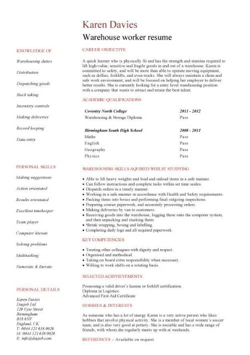 student entry level warehouse worker resume template examples for pic tune up operations Resume Resume Examples For Warehouse Worker