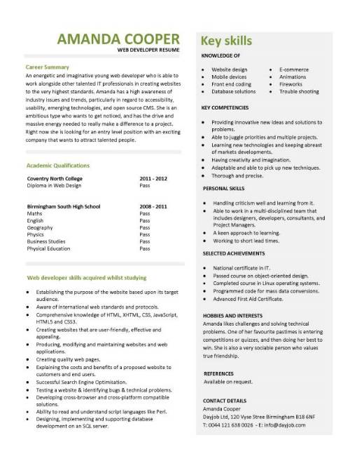 student entry level web developer resume template back end pic professional summary for Resume Entry Level Back End Developer Resume